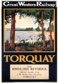 Torquay, Devon, The English Riviera, Torre Abbey Sands. Great Western Railways (GWR) Vintage Travel Poster. 1927